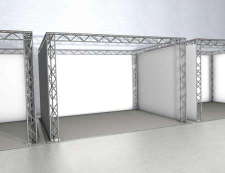 exhibitor: Empty trade exhibition stands at a grey floor