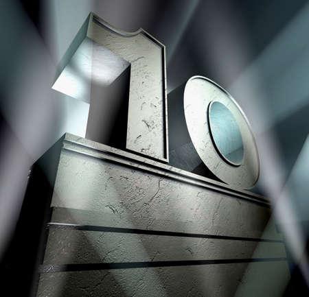numero diez: N�mero diez en letras de plata sobre un pedestal de plateado