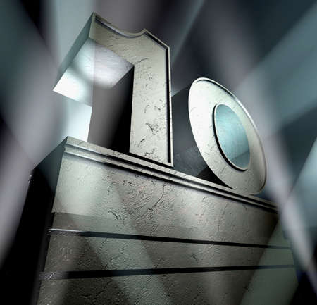 number ten: Number ten in silver letters on a silver pedestal  Stock Photo