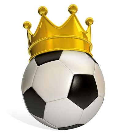 lucifers: Geïsoleerde voetbal in zwart en wit met een gouden kroon op een witte achtergrond Stockfoto