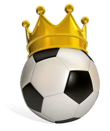 Isolated soccer ball in black and white with a golden crown on a white background