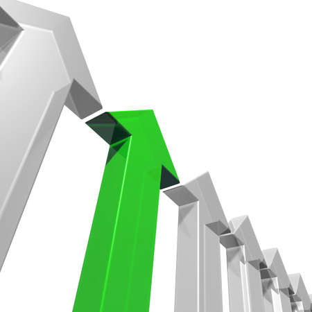 Five grey arrows and one green arrow pointing upwards. 3d illustration illustration