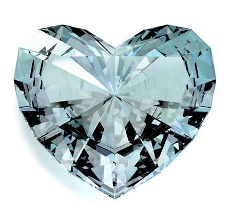 Heart shaped diamond at a white background photo