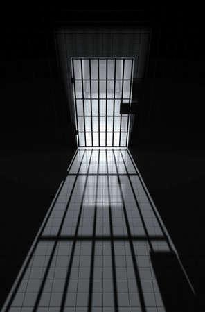prison cell: Cellule de prison avec les barres et sunbeam