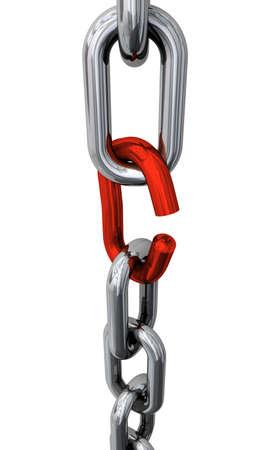hijsen: Zilver keten met rode verbroken koppeling  Stockfoto