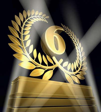 Golden laurel wreath with number six inside on a golden pedestal photo