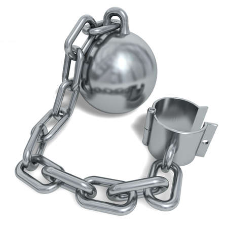 Silvery prisoner shackle isolated on a white background Stock Photo - 6414127