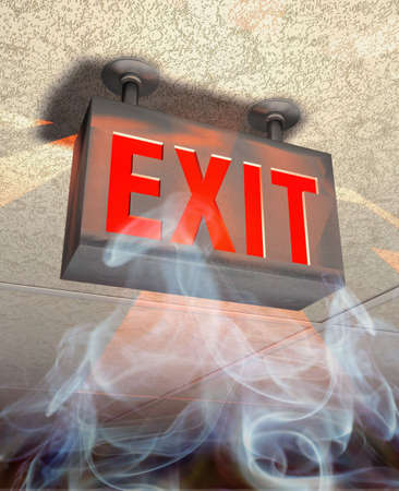 Exit sign in red letters in rising smoke