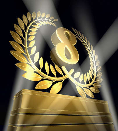 pedestal: Golden laurel wreath with number eight inside on a golden pedestal