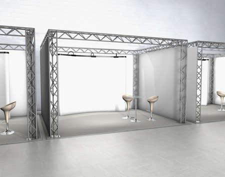 expositor: Exposici�n comercial en pie con sillas y pantalla en un suelo gris