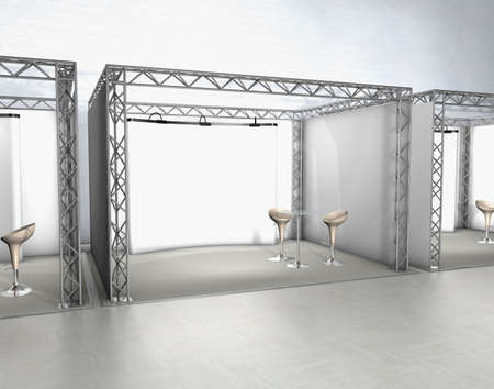 Trade exhibition stands with chairs and screen at a grey floor