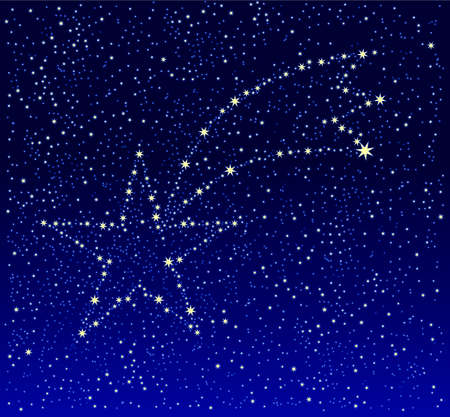 Shooting star on deep blue star field Stock Photo - 6445934