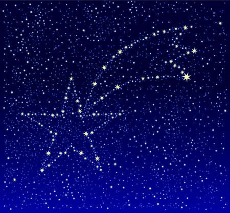 Shooting star on deep blue star field