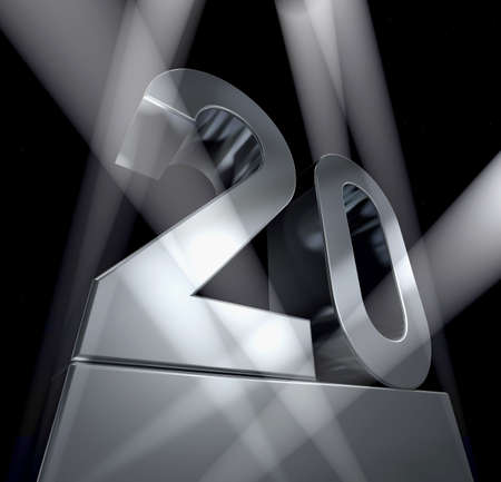 jubilation: Number 20 in silver letters on a silver pedestal