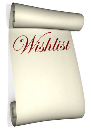 gift of hope: A rolled up wish list isolated on a white background