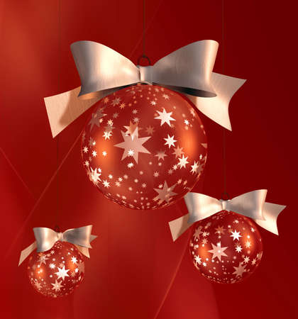 One big and two small Christmas tree balls of glass with ornaments and white ribbon  photo