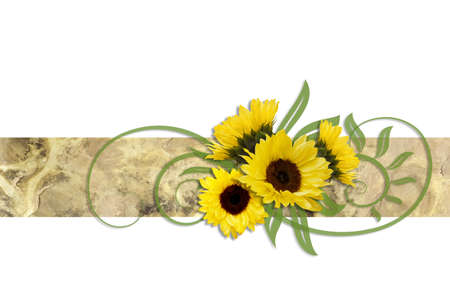 oil crops: Decoration of sunflowers on an ornamental ribbon Stock Photo