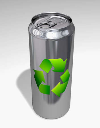 Aluminium can with recycling symbol photo