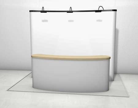 expositor: Stand de exposici�n de comercio con la pantalla en un piso de gris