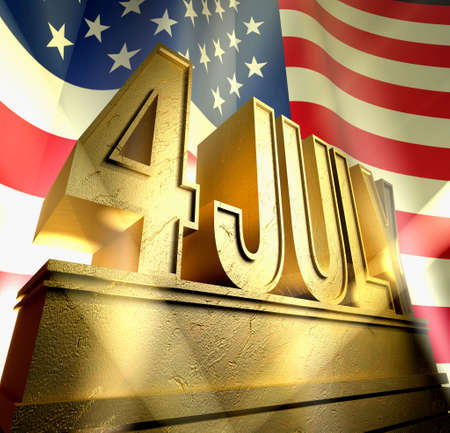 July 4 in silver letters on a silver pedestal in sunbeams in front of  the American flag photo
