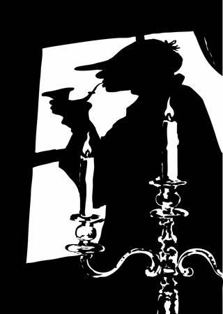 Silhouet van de beroemde roman figuur Sherlock Holmes  Vector Illustratie