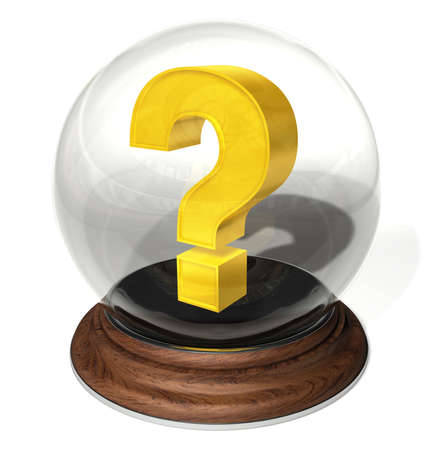 augur: Question mark in a crystal ball on a round brown pedestal
