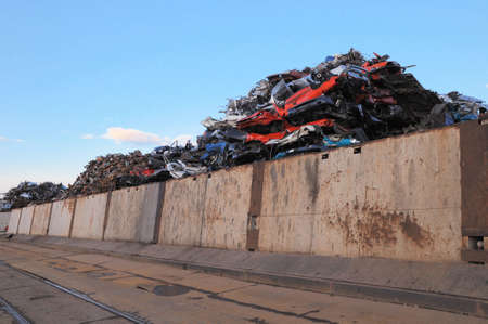 salvage yards: Wrecked cars in a junkyard Stock Photo