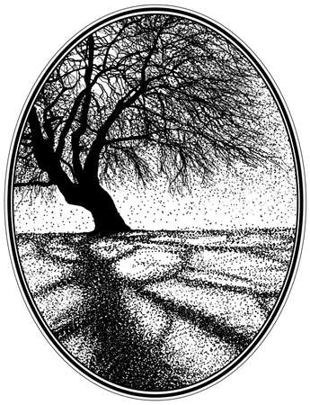 gnarled: Silhouette of a gnarled winter tree in an oval frame Stock Photo