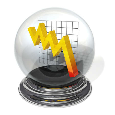 downwards: Jagged yellow line with tendency downwards in a crystal ball on a silver pedestal Stock Photo