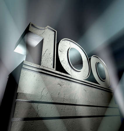 Number hundred in silver letters on a silver pedestal
