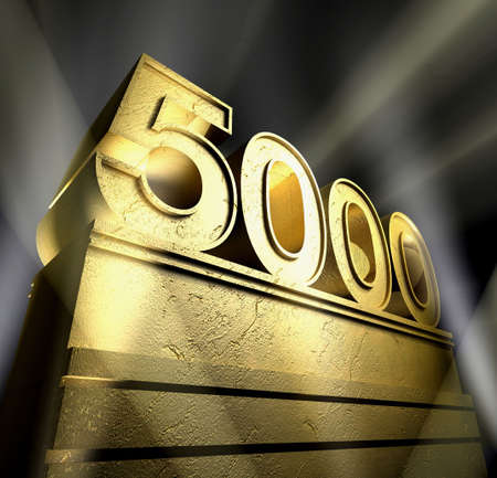 Number five thousand in golden letters on a golden pedestal  Stock Photo