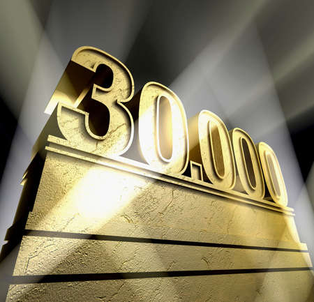 Number thirty thousand in golden letters on a golden pedestal  Stock Photo