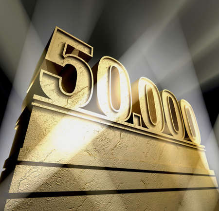 Number fifty thousand in golden letters on a golden pedestal