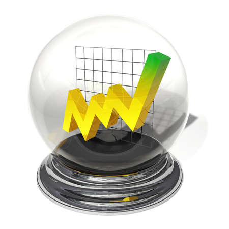 Jagged yellow line with tendency upwards in a crystal ball on a silver pedestal