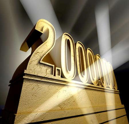 million: Number two million in golden letters on a golden pedestal