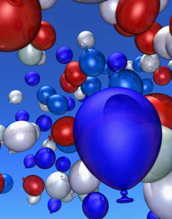 jubilation: Collection of large and small balloons in blue, red and white