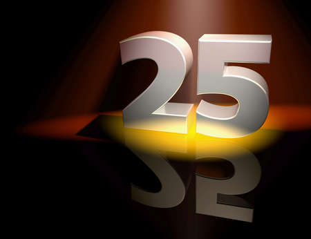 Number twenty-five in silver letters on a coloured background photo
