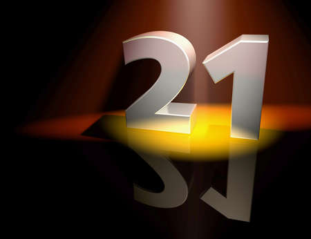 21: Number twenty-one in silver letters on a coloured background