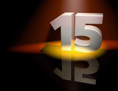 aniversario: N�mero quince en letras de plata sobre un fondo de color