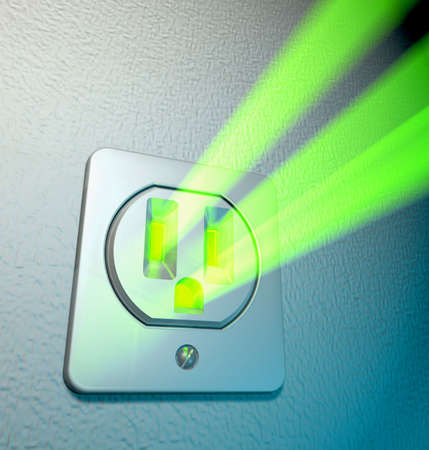 amperage: Abstract depiction of green energy coming out from a socket at a white wall Stock Photo