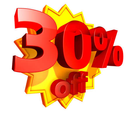 Sign for thirty per cent off in red ciphers at a yellow star on a white background photo