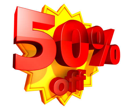 Sign for fifty per cent off in red ciphers at a yellow star on a white background photo