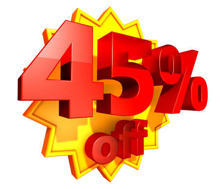 Sign for forty-five per cent off in red ciphers at a yellow star on a white background photo