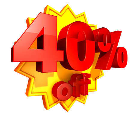 Sign for forty per cent off in red ciphers at a yellow star on a white background