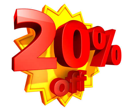 Sign for twenty per cent off in red ciphers at a yellow star on a white background photo