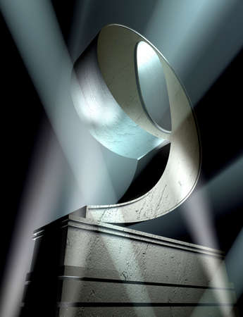 pedestal: Number nine in silver letters on a silver pedestal  Stock Photo