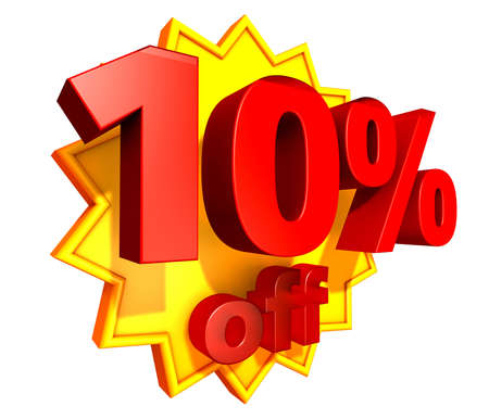 Sign for ten per cent off in red ciphers at a yellow star on a white background