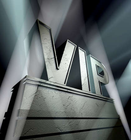 VIP in silver letters on a silver pedestal with ornaments in sunbeams