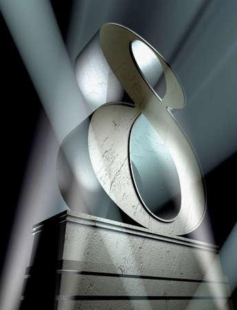 Numero otto in lettere d'argento su un piedistallo d'argento