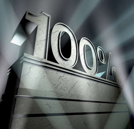 Sign 100 percent in silver letters on a silver pedestal Banco de Imagens